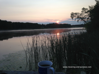 Background - Sunrise Lake w Coffee w website